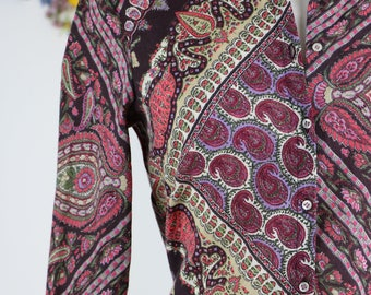 1990s Shirt - Vintage Boho Paisley Shirt - S/M - Long Sleeve - Button Up Top - Made In Italy - Fall Winter - Groovy Colourful Wild