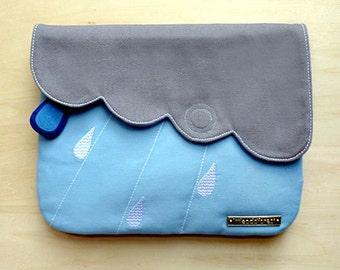 Clutch Purse with Zip Pocket, Zip Pocket Purse, Padded Clutch, Raindrops design, Cloud design, Vegan purse, Clutch Bag - Gray Light Blue
