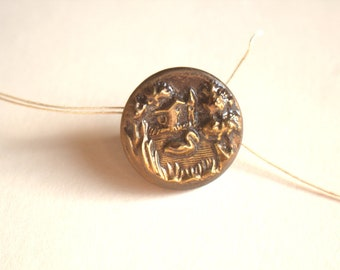 Duck and House Picture Button 1890 Rare