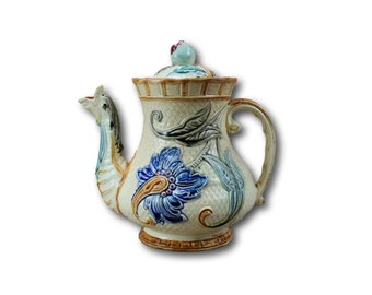 Wasmuel Majolica Coffee Pot, Belgian Antique Glazed Ceramic Coffee Pot, Dolphin Coffee Pot, Cafe au Lait Petit Dejeuner