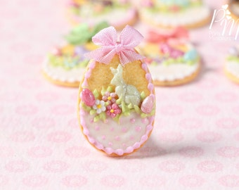 "MTO-Easter Egg Shortbread Sablé ""Basket"" Cookie (E) - Miniature Food in 12th Scale for Dollhouse"