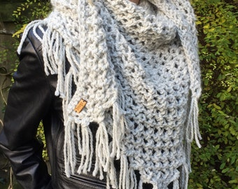 Triangle Fringed Hand Knitted Shawl