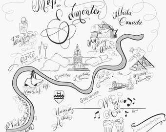 Edmonton Map - Hand-Lettering & Illustration - Instant Download - Alberta Canada