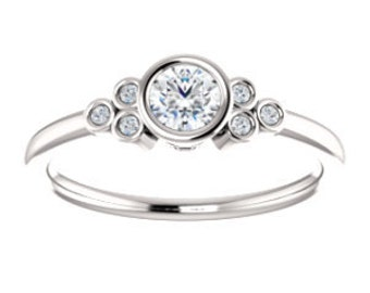 Forever One Moissanite Diamond 14K Gold Ring, Petite, Slim Band