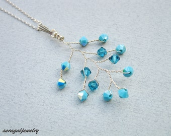 Turquoise necklace, Branch necklace, Sterling silver chain,Swarovski necklace,Statement necklace,Opal necklace,Mother of the bride jewelry,