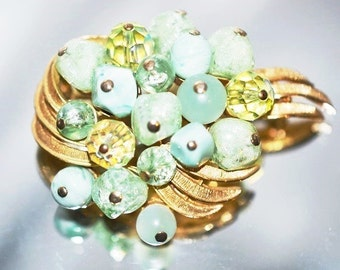 Vintage Signed Coro Mint Green Freeform Beads with Faceted Crystals Brooch