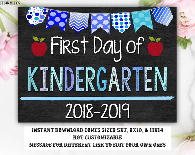 First Day of Kindergarten Sign Instant Download, First Day of School Chalkboard, First Grade, First Day of School, Printable Sign, 1st,First