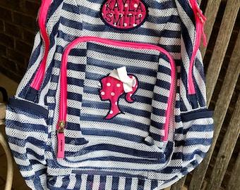Monogrammed Backpack | Mesh Backpack | Back to School | Girls Backpack | Barbie Backpack | Book Bag | Kids Backpack | Ponytail Girl | Barbie