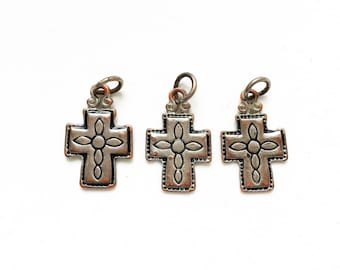 distressed silver tone copper metal salvaged recycled engraved design cross pendants charms for repurposing--matching lot of 3