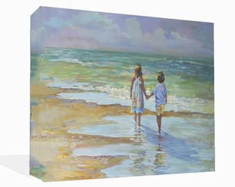 Home Decor Children Walking On Beach Water Colour Effect Canvas Print  Wall Art Ready To Hang Or Poster Print