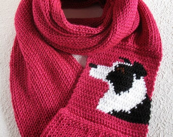 Border Collie Scarf. Fuchsia knit infinity scarf with a black and white collie dog. Knitted dog scarf. Border collie gifts. Long cowl scarf