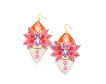 Geometric Earrings, Gift for Her, Gold Pink Leather Earrings,  Statement Jewelry, Faux Rhinestone Earrings, Big Earrings, Statement Earrings