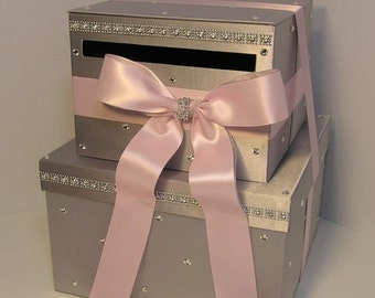 Wedding Card Box Silver and Light Pink Gift Card Box Money Box  Holder--Customize your color