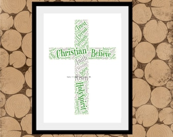 Gift For Christening, Cross Word Art, Cross Wordle, Cross Word Collage, Confirmation Gift, Easter Gift, Christening Gift, Communion Gift.