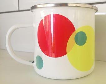 hand printed spotty polka dot enamel cup