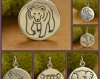 Sterling Silver Spirit Animal Charms, Silver Disc Charm, Animal Spirit Charm, Coin Necklace, Talisman,Silver Disc Necklace, Animal Charms