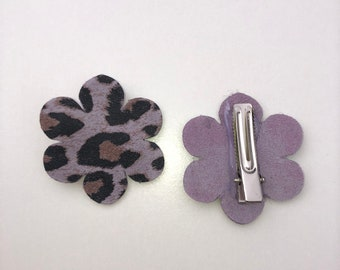 Leather Flower Hair Clips for Toddlers and Girl in purple leopard print