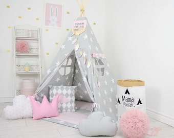 Play Tent, Star Teepee, Tipi, Pink Teepee Tent, Teepee Enfant, Child Teepee, Wigwam, Reading Lamp, Powder Pink Tent, Playmat, Zelt