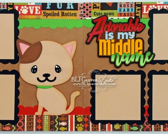 Pet Cat Premade Scrapbook Pages 12x12 Layout Paper Piecing Die Cuts Handmade 38
