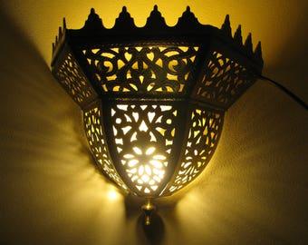 Marocain Oriental en laiton lampe applique murale Ecbel - 30 X 30cm - fait à la main à Fès