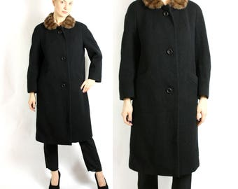 Vintage 70's 80's Black Textured Swing Boucle Wool Long Coat with Real Fur Collar - Medium to Large