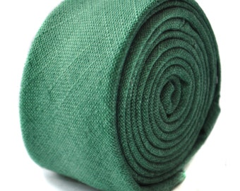 dark green skinny linen textured tie by Frederick Thomas FT1643