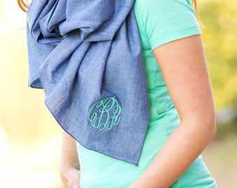 Chambray Scarf, women's scarf, ladies scarf, personalized scarf, monogram scarf