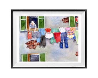 Laundry line, Art Print, Sale, Laundry wall art, Artwork, Italian laundry, clothes line, hanging cloths, Watercolour, Watercolor painting