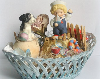 Miniature Beach Scene in Basket Sailor Boy & Dog Hand Crafted Collectible Home Decor Table  Decor One-of-a-Kind Beach Kitsch