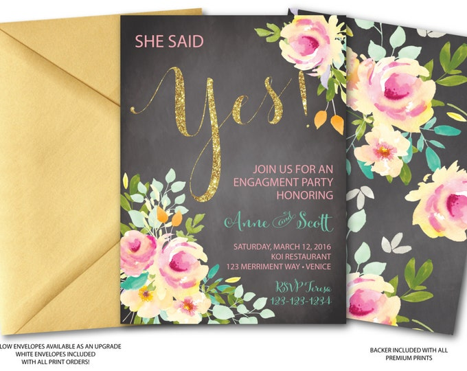 Engagment Party Invitation // She said Yes // Chalkboard // Roses//Peonies // Peony // Pink // Gold Glitter // Yellow // VENICE COLLECTION