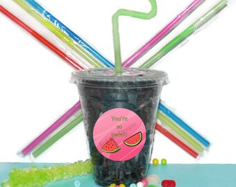 Watermelon Party Cups, Fruit Watermelon Cups, Kids Birthday Party Cups, 20 Cup Watermelon Kids Party Cups, Straws and Lids, 12 Ounce Cups