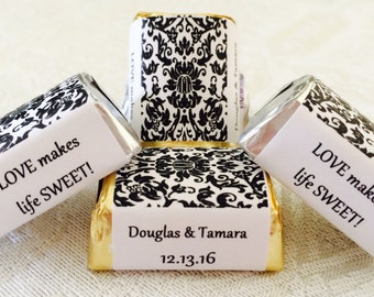 120 Black and White DAMASK PATTERN Personalized Candy labels/wrappers/stickers for wedding or any party/event
