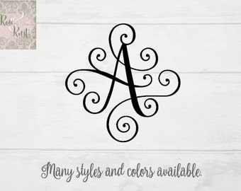 Scroll Monogram Letter, Elegant Monogram Decal, Fancy Monogram Letter, Traditional Monogram, Script Monogram, Custom Monogram