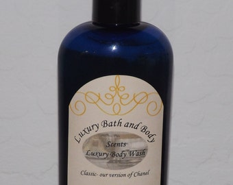 Luxury body wash 8 oz, thick shower gel, thick lasting lather, rinses clean. Easy to use push top, comes in many scents