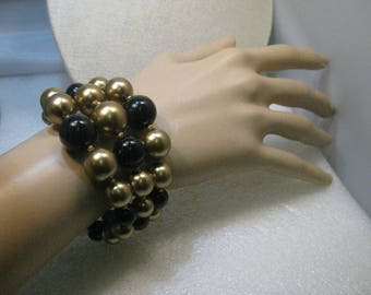 Vintage Black & Gold Coiled Bracelet, Graduated Beads, 1950's Style