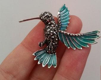 Hummingbird brooch silver tone marcasite crystals blue wings