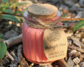 Soy Wax candles roses in glass with cork lid