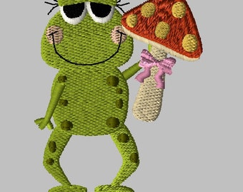 Machine Embroidery Design-Primsy Frog-06 includes 3 sizes!