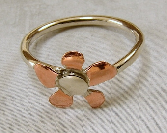Tiny Dainty Mixed Metal Flower Ring Sterling Silver and Copper, Copper flower ring, copper and sterling silver ring, flower ring
