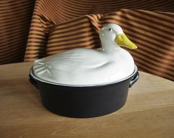 Vintage HALL CARBONE Duck Casserole Dish Covered Black and White Goose Tureen