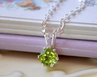 Genuine Peridot Necklace, August Birthstone, Lime Green Gemstone, Sterling Silver Children's Jewelry