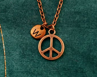 Peace Sign Necklace VERY SMALL Peace Sign Charm Necklace Peace Sign Jewelry Hippie Jewelry Hippie Necklace Personalized Jewelry Letter Charm