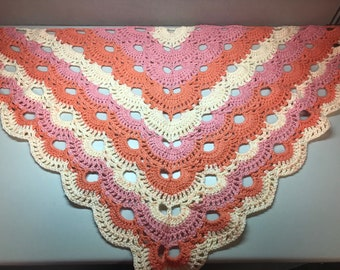 Pink and White Triangle Shawl