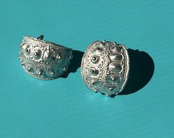 Silver sea urchin stud earrings