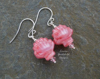 Pink seashell earrings, beach jewelry, pink shell earrings, seaside earrings, beach earrings, pink earrings, blush pink, sterling silver