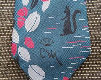 1950s Countess Mara Vintage Silk Squirrel and Acorn Tie / Vintage '50s Novelty Print Necktie