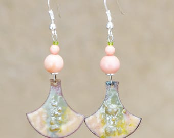 """Silver """"Lane"""" shells and charms copper enameled earrings"""