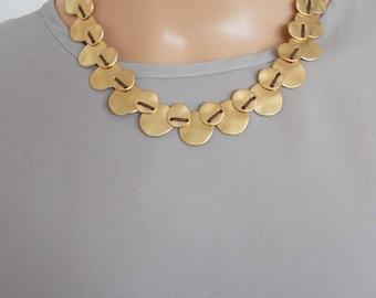 Matte Gold Disc Necklace