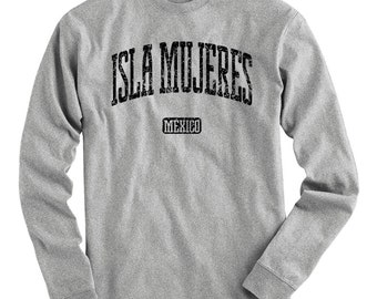 LS Isla Mujeres Tee - Long Sleeve T-shirt - Men S M L XL 2x 3x 4x - Gift, Mexico, Mexican, Travel, Vacation, Tourism, Scuba - 4 Colors
