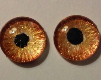 Gold Hand Painted Glass Eye Cabochon 14mm Round Glass Eye Fantasy Jewelry Supplies Fastasy Steampunk Sci Fi Cosplay Doll Eye